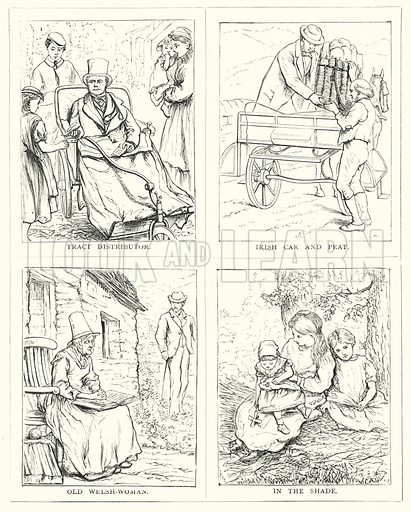 Tract distributor; Irish car and peat; Old Welsh-Woman; In the shade. Illustration for The Infant's Magazine (1876).