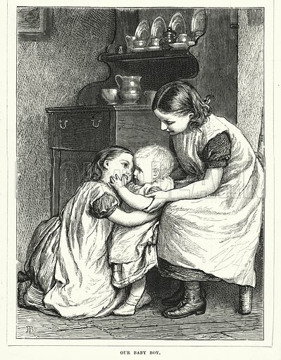 Our Baby Boy. Illustration for The Infant's Magazine (1876).