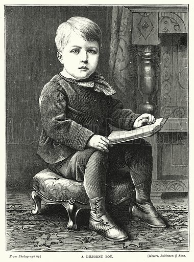 A Diligent Boy. Illustration for The Infant's Magazine (1876).