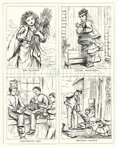 The Gleaner, Little missionary; Industrious boy; Helping father. Illustration for The Infant's Magazine (1876).
