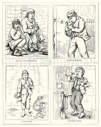 Crossing-Sweepers, Poor pincher, Poor Pete, Naughty Bob. Illustration for The Infant's Magazine (1876).