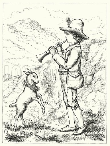 Boy playing pipe. Illustration for The Infant's Magazine (1876).