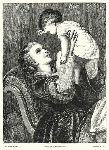 Mother's Treasure. Illustration for The Infant's Magazine (1876).