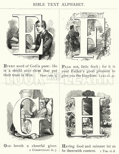 Bible Text Alphabet. Illustration for The Infant's Magazine (1876).