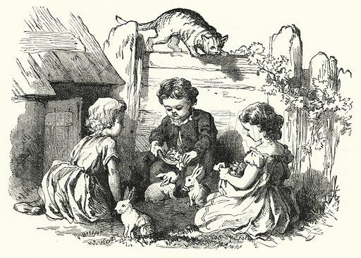 Children feeding rabbits. Illustration for The Infant's Magazine (1876).