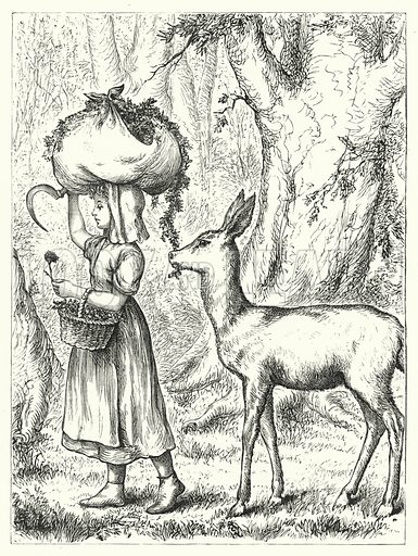 Girl and Fawn. Illustration for The Infant's Magazine (1876).