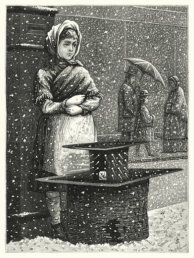 Girl in the snow. Illustration for The Infant's Magazine (1876).