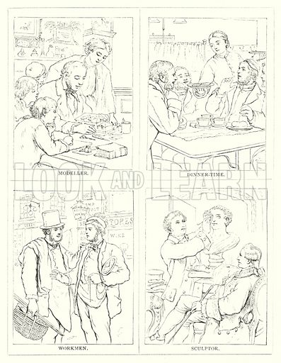Modeller, Dinner-Time, Workmen, Sculptor. Illustration for The Infant