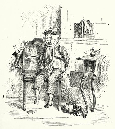 Toothache. Illustration for The Infant's Magazine (1877).