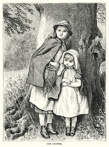 The Shower. Illustration for The Infant's Magazine (1877).