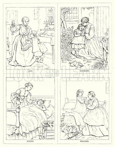 Joy, Sorrow, Sleep, Prayer. Illustration for The Infant's Magazine (1877).