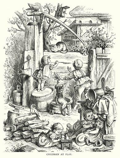 Children at Play. Illustration for The Infant's Magazine (1877).