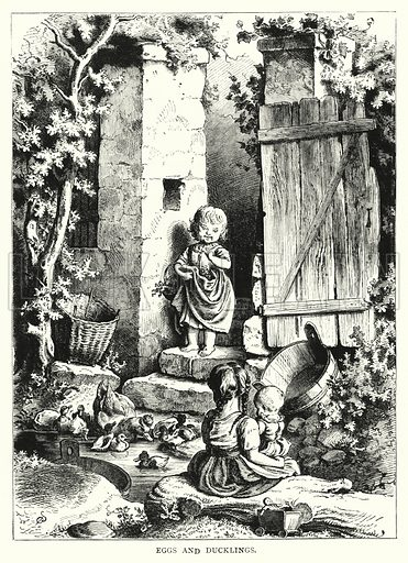 Eggs and Ducklings. Illustration for The Infant's Magazine (1877).