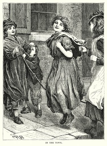 In the Town. Illustration for The Infant's Magazine (1877).