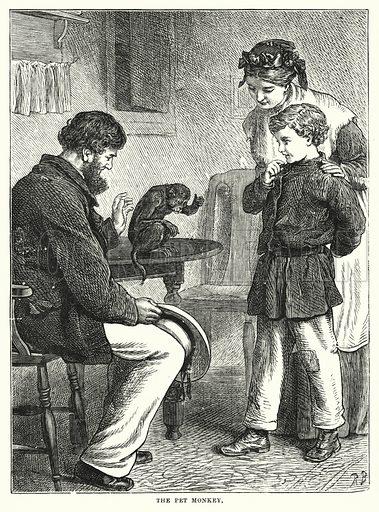 The Pet Monkey. Illustration for The Infant's Magazine (1877).