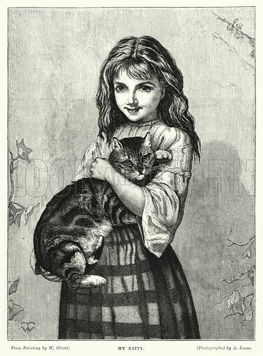 My Kitty. Illustration for The Infant's Magazine (1878).