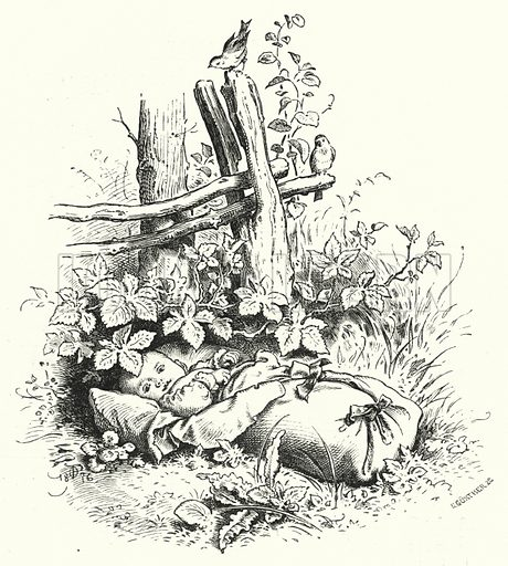 Baby left on the grass. Illustration for The Infant