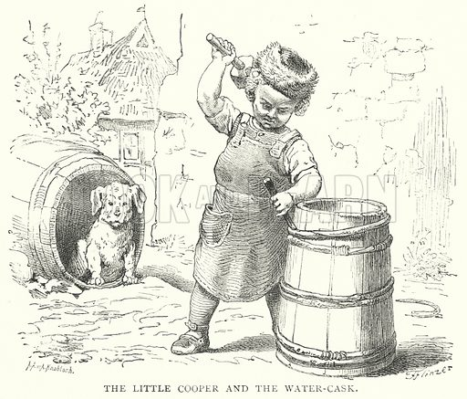 The Little Cooper and the Water-Cask. Illustration for The Infant's Magazine (1879).