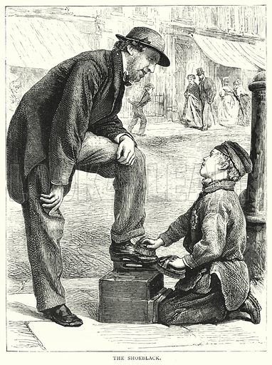 The Shoeblack. Illustration for The Infant's Magazine (1879).