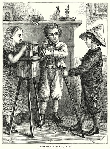 Standing for his Portrait. Illustration for The Infant's Magazine (1879).