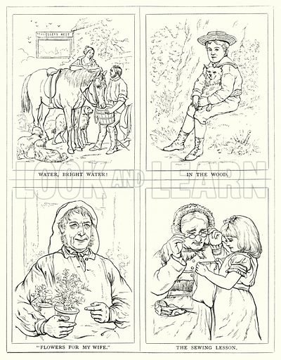"""Water, bright water!, In the wood, """"Flowers for my wife"""", The sewing lesson. Illustration for The Infant's Magazine (1879)."""