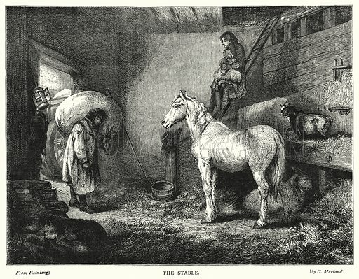 The Stable. Illustration for The Infant's Magazine (1879).