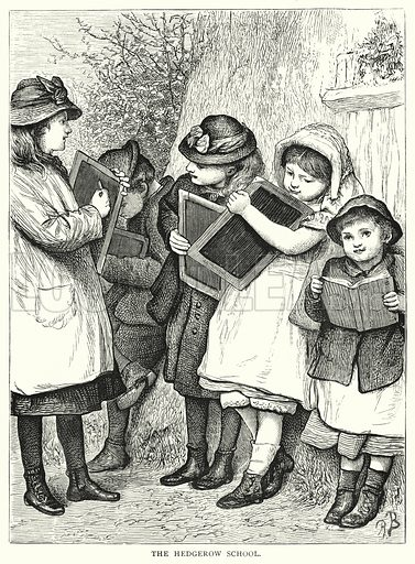 The Hedgerow School. Illustration for The Infant's Magazine (1879).