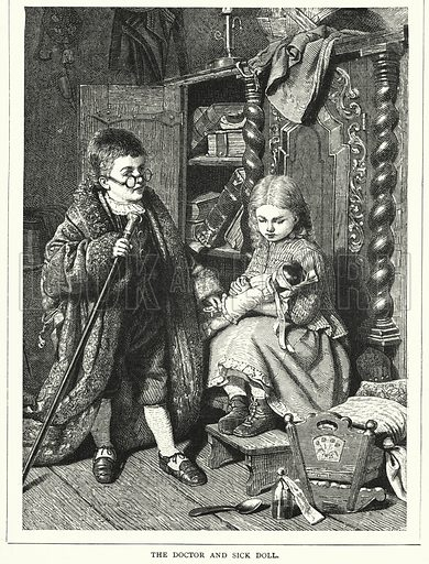 The Doctor and the Sick Doll. Illustration for The Infant's Magazine (1879).