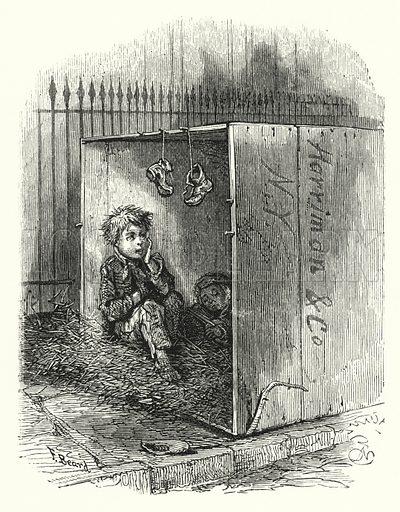 Homeless boys. Illustration for The Infant's Magazine (1884).