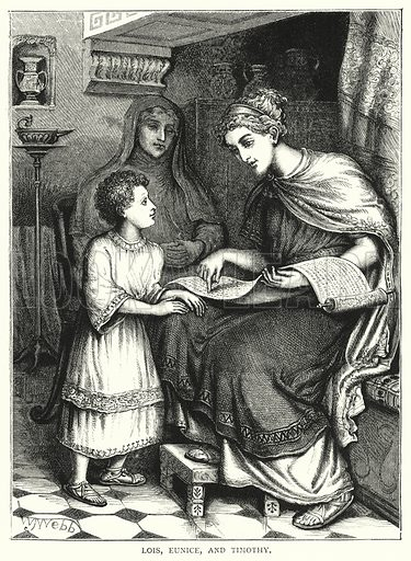 Lois, Eunice, and Timothy. Illustration for The Infant's Magazine (1884).