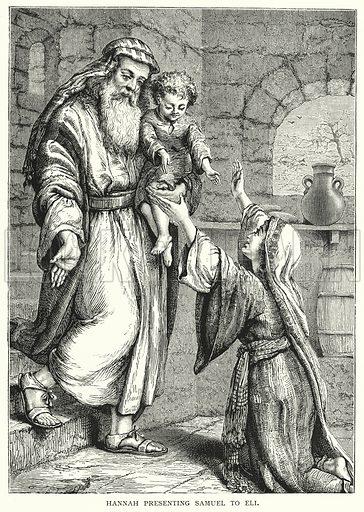 Hannah presenting Samuel to Eli. Illustration for The Infant's Magazine (1884).