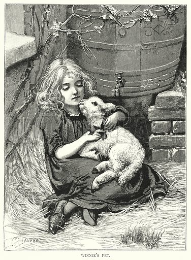 Winnie's Pet. Illustration for The Infant's Magazine (1884).