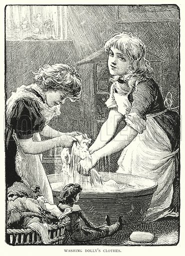 Washing Dolly's Clothes. Illustration for The Infant's Magazine (1884).