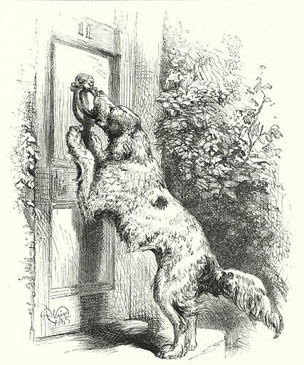 Dog knocking on door. Illustration for The Infant's Magazine (1886).
