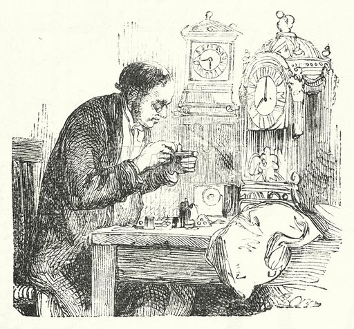 Watchmaker. Illustration for The Infant's Magazine (1886).