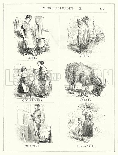 Picture Alphabet, G. Illustration for The Infant's Magazine (1886).