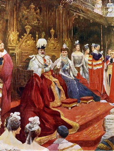 The King opening Parliament. Illustration for The King's Empire with an introduction by W H Fitchett (Cassell, 1910).