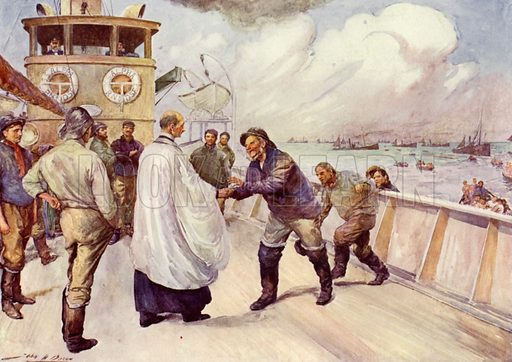 Fishermen of the North Sea fishing fleet assembling for worship. Illustration for The King's Empire with an introduction by W H Fitchett (Cassell, 1910).