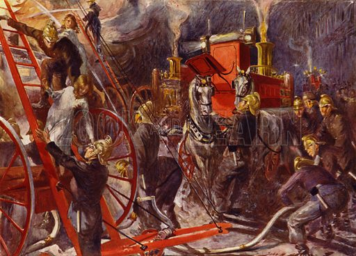 Fire brigade at work. Illustration for The King's Empire with an introduction by W H Fitchett (Cassell, 1910).
