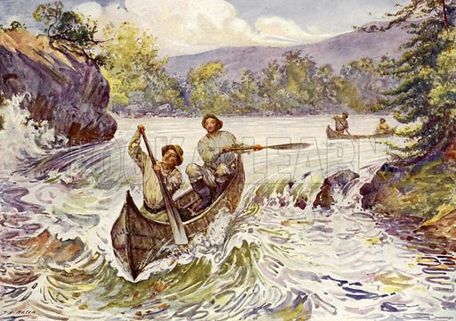 Canadians shooting rapids in canoes. Illustration for The King's Empire with an introduction by W H Fitchett (Cassell, 1910).