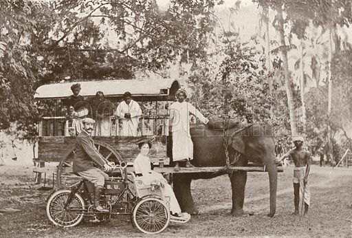 New and old styles, tri-car and elephant waggon in Ceylon. Illustration for The King's Empire with an introduction by W H Fitchett (Cassell, 1910).