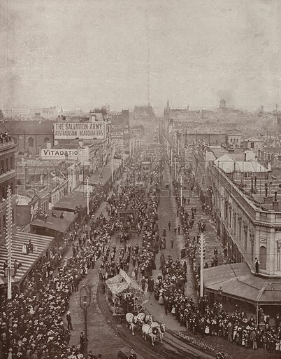 An eight hours procession, Melbourne, looking down Bourke Street. Illustration for The King's Empire with an introduction by W H Fitchett (Cassell, 1910).