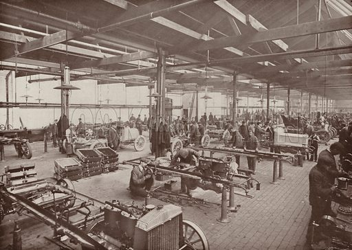 The Erecting Shop, Daimler Motor Works, Coventry. Illustration for The King's Empire with an introduction by W H Fitchett (Cassell, 1910).