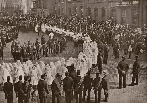 Mount Carmel Procession, Italian Church, Hatton Garden, London. Illustration for The King's Empire with an introduction by W H Fitchett (Cassell, 1910).