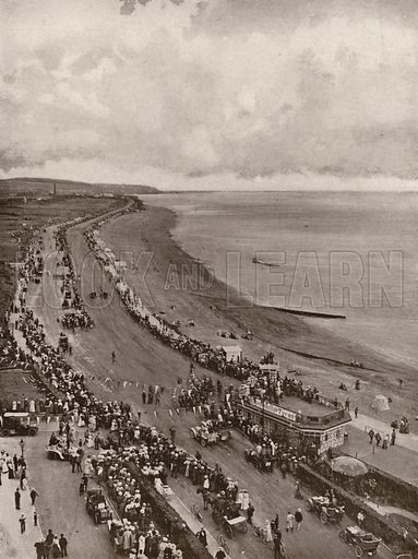 Motor racing at Bexhill. Illustration for The King's Empire with an introduction by W H Fitchett (Cassell, 1910).