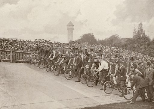 Cycle racing at the Crystal Palace. Illustration for The King's Empire with an introduction by W H Fitchett (Cassell, 1910).