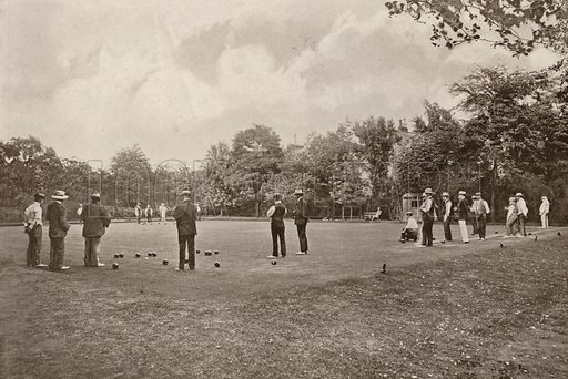 Playing at bowls in Ravenscourt Park, Hammersmith, London. Illustration for The King's Empire with an introduction by W H Fitchett (Cassell, 1910).