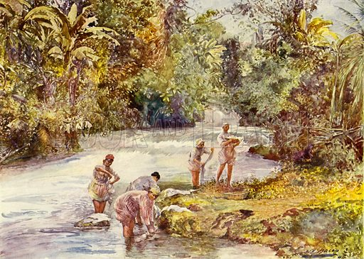 The White River, Jamaica. Illustration for The King's Empire with an introduction by W H Fitchett (Cassell, 1910).