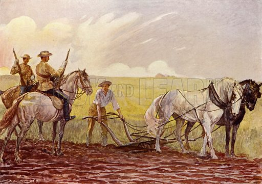 Canadian Mounted Police. Illustration for The King's Empire with an introduction by W H Fitchett (Cassell, 1910).