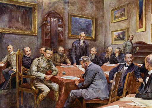 Signing the treaty of peace at Pretoria. Illustration for The King's Empire with an introduction by W H Fitchett (Cassell, 1910).